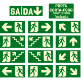 placa de sinalização saída de emergência orçamento Jundiaí